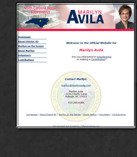 Web Design by Tiffany Richards for Marilyn Avila, State Rep, Raliegh, NC