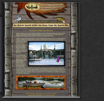 Web Design by Tiffany Richards for Gunflint Lodge, MN