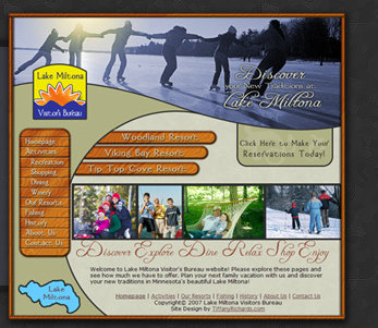 Web Design by Tiffany Richards for Lake Miltona Visitors Bureau in Lake Miltona, MN