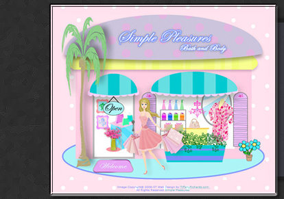 Web Design & Illustration by Tiffany Richards for Simple Pleasure Bath & Body Store in Stuart, FL