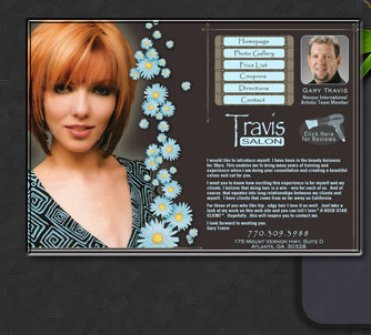 Web Design by Tiffany Richards for Travis Salon in Atlanta, GA